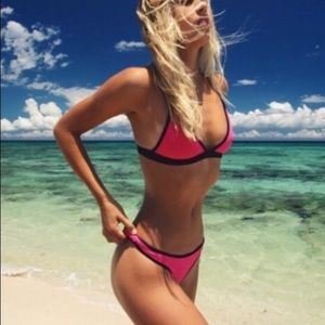 RARE Coulbourne Hot Magenta Flamingo Rose Bikini